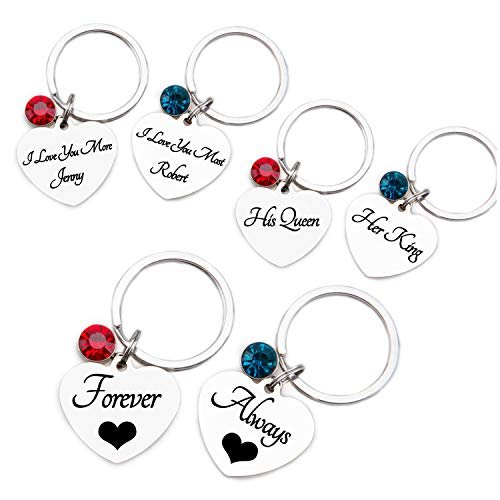 Fanery Sue Custom Keychains for Couples/Best Friends Personalized Birthstone Engraved Message ID Key Tags Valentine's Day Gift (Valentine's Day Message For Best Friend)