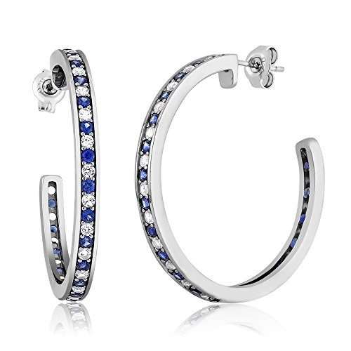 (Gem Stone King 1.50 Inch Beautiful 925 Silver White & Blue Simulated Sapphire Hoop Earrings)
