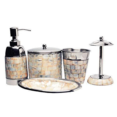 Jonesborough Collection Mother Of Pearl 5 Piece Bathroom Accessory Set Hand Crafted Set Includes Soap & Lotion Dispenser Tooth Brush Holder Gargle Tooth-Brushing Tumbler Soap Dish Cannister