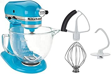 Kitchenaid 5 Qt Tilt Head Stand Mixer With Glass Bowl And Flex Edge Beater Crystal Blue