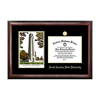 Campus Images Sports Team Logo Design North Carolina State University Gold Embossed Diploma Frame with Campus Images Lithograph
