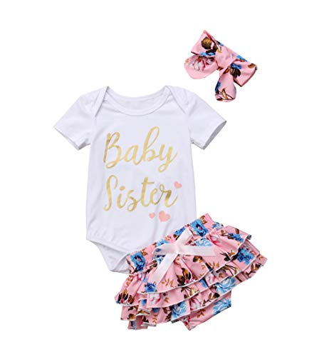 (Baby Girls Jumpsuit Newborn Infant Kids Floral Clothes Shorts Summer Romper Bodysuit Sundress Outfits (0-3 Months, B-Pink))