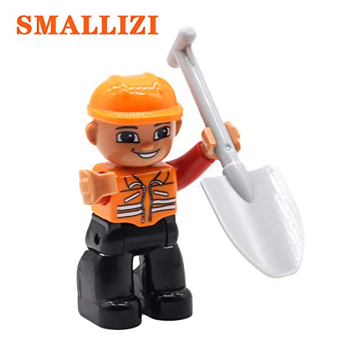 Career People Big Size Building Blocks Compatible Duplo Policemen Pirate Soldier Princess Firemen Worker Bricks Character Toys Miner Shovel