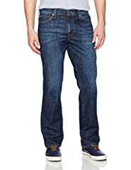 Classic fit straight leg medium washed blue indigo denim with shadow whickering