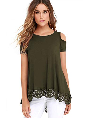 ZEGOLO Women's Cold Shoulder Tops Short Sleeve Lace Trim O-Neck A-Line Tunic Blouse Army Green 2X-Large