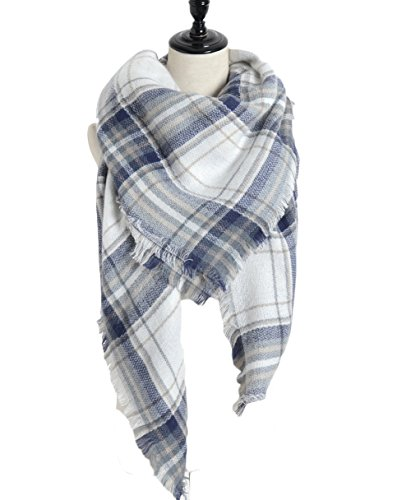 Plaid Blanket Scarf Sundayrose Big Square Tartan Checked Shawl (Blue White) (Blue Plaid Scarf)