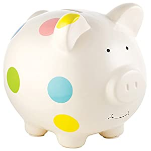 Pearhead Ceramic Piggy Bank, Makes a Perfect and Unique Gift For New Moms or New Baby, White With Multi Colored Polka Dots