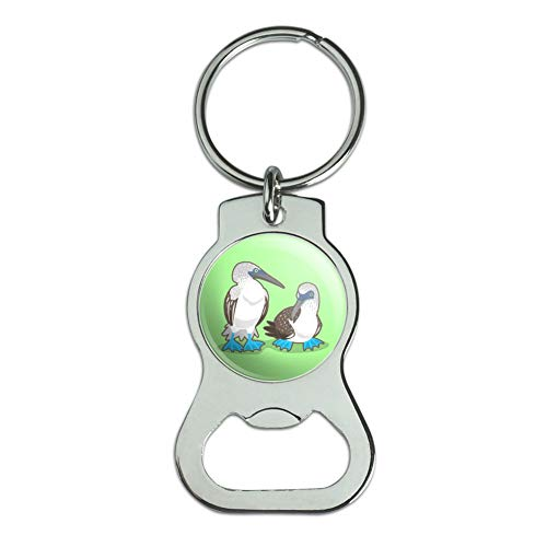 Graphics and More Pair of Blue Footed Boobies Bottle Cap Opener Keychain Key - Bottle Footed