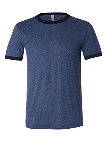Bella + Canvas Men'S Jersey Short Sleeve Ringer Tee (Heather Navy_Midnight) (XL) (Belle Baseball Jersey)