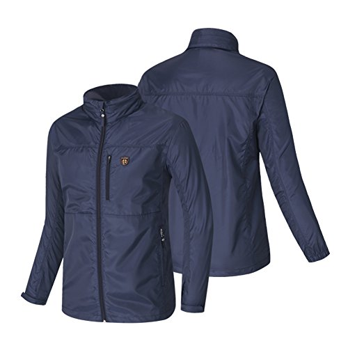 Fuerza Mens Built in Hood Windbreaker Foldable Golf Sports Lightweight Jacket (Large, Navy)