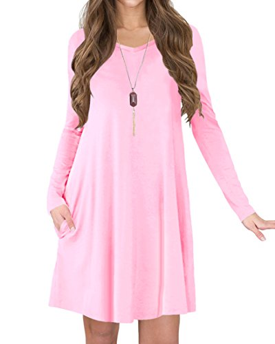Pink Long Sleeve Dress - TINYHI Women's Long Sleeve V-Neck Side Pockets Casual Swing T-Shirt Dress(Pink,L)