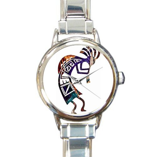 (Special Design Native American Kokopelli Flute Player, Music Notes Round Italian Charm Watch)
