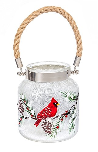 Cypress Home Glass Handpainted LED Cardinal and Pinecones Jar with Handle