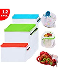 12PCs Premium Reusable Mesh Produce Bags,3 Sizes,Top Reinforce Upgraded Design,Eco-friendly and Washable,See-through Grocery Bags for Shopping,Fruits,Vegetable,Toys Storage(3Red,6Green,3Blue)