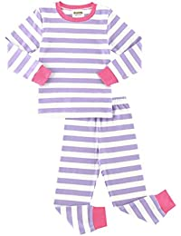 Girls Boys Pajamas Set 100% Cotton Stripe Long Sleeve Kids Sleepwear for Girls and Boys Size 12 Month-7 Years
