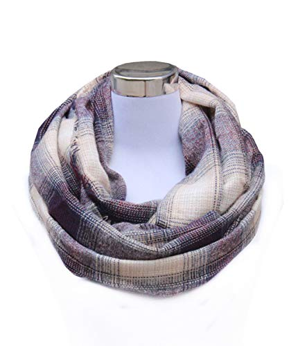 Lucky Leaf Women Extra Soft Checked Pattern Cashmere Feel Warm Plaid Infinity Scarf (L-Purple Beige Plaid)
