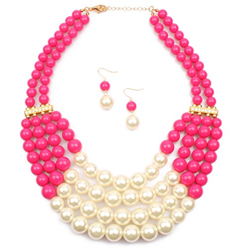 Cluster Jewelry - Lanue Thkmeet Women Fashion Jewelry Set Pearl Bead Cluster Collar Bib Choker Necklace and Earrings Suit (Rose red)