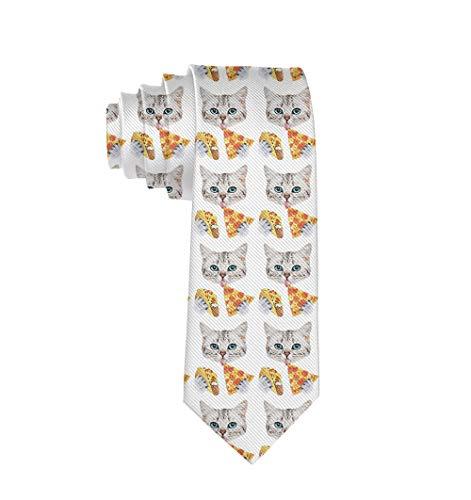Men Novelty Necktie For Groom Groomsmen Party Gift (Funny Cat Taco Pizza Cartoon)