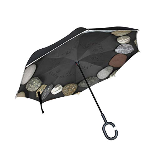Pebble Stones Black Round Patio Umbrella for Car Bulldog Reverse Umbrella Outdoor Umbrella Windproof with C-Shaped Handle (Pebble Diy Patio Stone)