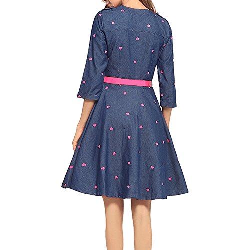 Valin HAA0110 Damen 3/4Arm ALinie Cocktail Midi Kleid Sommerkleid ...