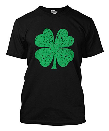 Distressed Green Four Leaf Clover Men's T-Shirt (Black, ()