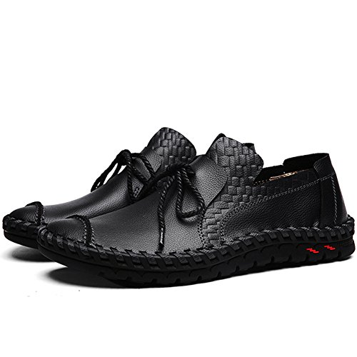 Lakerom Män Dagdrivare Skor För Män Halka På Skor Tillfälliga Läderskor Black1