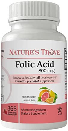 Folic Acid 800 mcg (B9 Vitamin) by Nature's Trove - 365 EZ Chew Tablets Strawberry Flavor