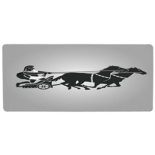Pet Mat for Food and Water,Toga Party,Mythological Chariot Gladiator with Horse Traditional Greek Culture Image Decorative,Dimgrey Black,Rectangle Non-Slip Rubber Mat for Dogs and Cats