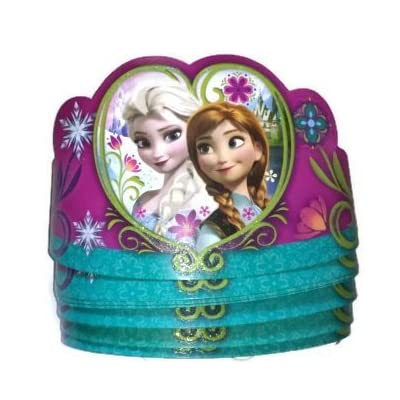 8 Pack of Disney Frozen Tiaras Paper Crowns Party Supply with Anna & Elsa: Toys & Games