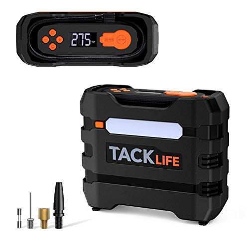 TACKLIFE ACP1B Digital Tire Inflator,Portable Air Compressor 150PSI, 12V Auto Tire Pump with Overheat Protection, LCD Display, Emergency Light, 3 Nozzles and Extra Fuse