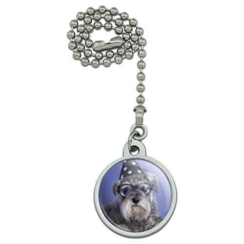 (GRAPHICS & MORE Schnauzer Puppy Dog Wizard Glasses Spell Book Ceiling Fan and Light Pull Chain)
