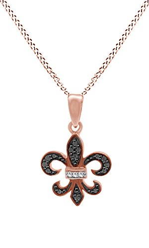 Black & White Natural Diamond Fleur De Lis Pendant Necklace 14k Rose Gold Over Sterling Silver (Fleur De Lis 14k Necklace)