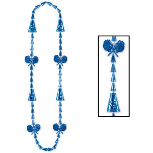 Cheerleading Beads (blue) Party Accessory  (1 count) (Cheerleading Party Beads)