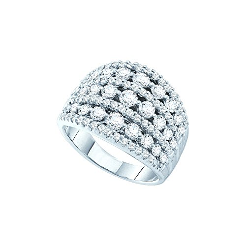 14kt White Gold Womens Round Pave-set Diamond Wide Cocktail Band Ring 3.00 Cttw by JawaFashion
