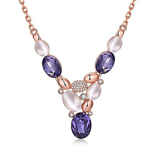 [Opal Purple Glass Crystal Czech Drill Rhinestone Triangle Pendant 18K Rose Gold Plated Necklace,] (Czech Costumes Jewelry)