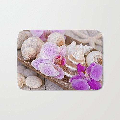 Afagahahs Pink Orchid And Sea Shell Maritime Still Life Short Plush Top Doormat Creative Indoor/Outdoor Mat Standar Size 18x30 Inches Durable and beautiful Rug