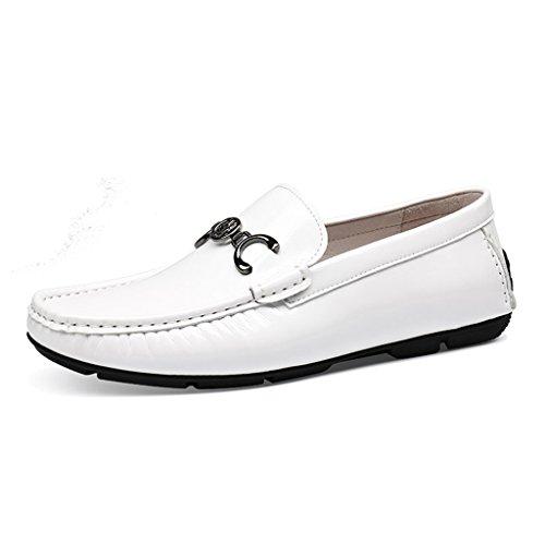 perezosos Zapatos guisantes de Zapatos de Zapatos de Clásicos cuero Hombre marea los Blanco británico primavera respirables de hombres Zapatos para Piel de Color Blanco de de Zapatos ocasionales estilo qwRx6ZOHq