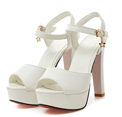 Peep Womens Simple Ankle White With Sandals Toe Shoes Chunky Aisun Comfy Buckled Heel Platform High Dress Straps CSqfWqXdpn