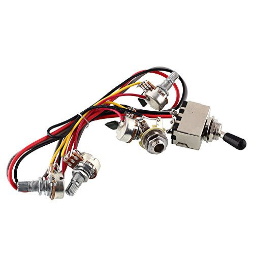 - Forfar 2v 2t Wiring Harness 3 Way Toggle Switch 500k Pots for Guitar Dual Humbucker