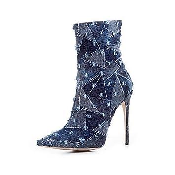 Mujer Zapatos Vaquero Otoño Invierno Botas de Moda Botas Camperas Botas Tacón Stiletto Dedo Puntiagudo Mitad de Gemelo para Fiesta y Noche 6CXTJ4Tn