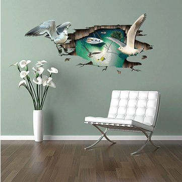 Gulls Animals (Home Decor Sticker Creative 3D Sticker - 3D Sea Gull Animal Removable Home Waterproof Decorative Wall Floor Decor Sticker - 1x Miico 3D Creative PVC Wall Sticker How to use : 1.Clean the)