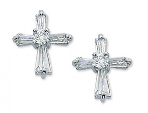 Catholic Girl's First Communion Earrings. Small Cubic Zirconia Cross Post Earrings.
