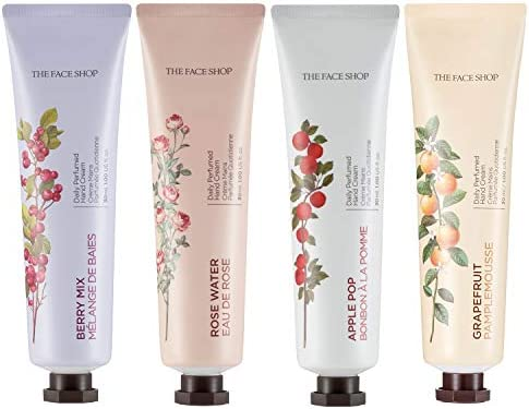 [THEFACESHOP] Daily Perfume Moisturizing Hand Cream - Rose Water, Grapefruit, Apple Pop, Berry Mix, Nourishing Hand Lotion 4-Pack Set For Dry Skin Gift Set Variety (1 Oz Each)