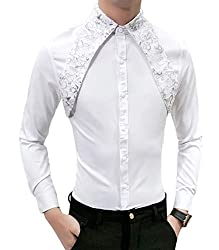 Men's Slim Fit Lace Sequins Casual Shirt