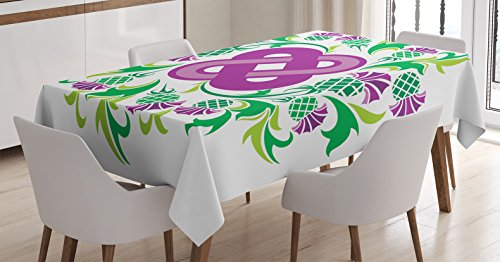 Celtic Decor Tablecloth by Ambesonne, Eternal Life Symbol Celtic Motif Surrounded with Thistle Flower and Leaves Kitsch Image, Dining Room Kitchen Rectangular Table Cover, 52 X 70 Inches, Purple (Celtic Design Thistle)
