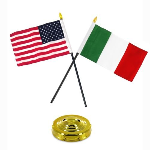 Italy Italian USA American Flag 4''x6'' Desk Set Table Stick