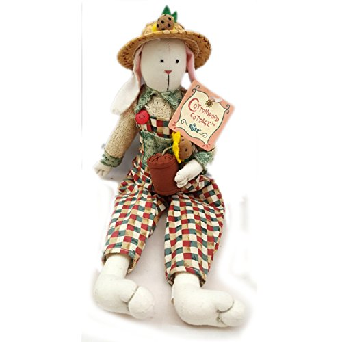 Russ Berrie Cottonwood Cottage Handcrafted Garden Rabbit Doll W/Potted Sunflower No. ()