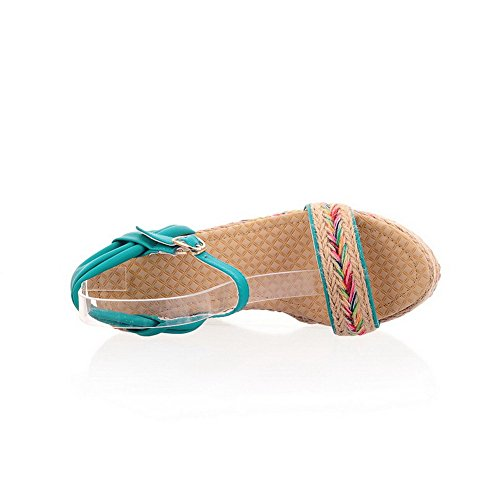 AllhqFashion Materials Color Assorted Sandals Blue Buckle Womens Heels Open Blend Toe High fIrIOqw