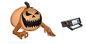 Halloween Inflatable Airblown Jack O Lantern Pumpkin Monster 3.5' Long & Bonus Mini Strobe Light Bundle