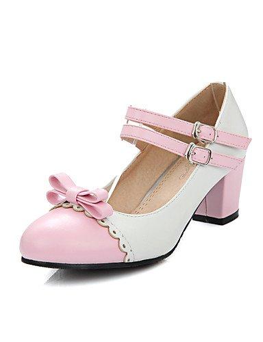 GGX/Damen Schuhe PU Sommer-/, Round Toe Heels Büro & Karriere/Casual Chunky Ferse Schleife/Schnalle schwarz/blau/gelb/pink blue-us7.5 / eu38 / uk5.5 / cn38